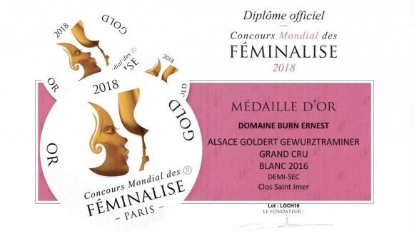 Médaille d'Or pour le Gewurztraminer Clos Saint-Imer 2016